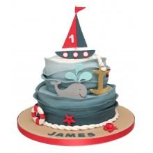 2 Tier Boat Birthday Cake