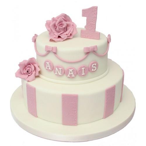 Rose 2 Tier 1st Birthday Cake