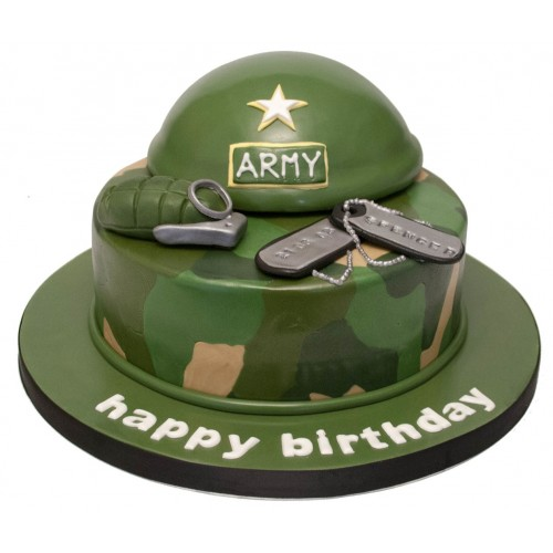 Fabulous Army Hat Birthday Cake Personalised Birthday Cards Rectzonderlifede