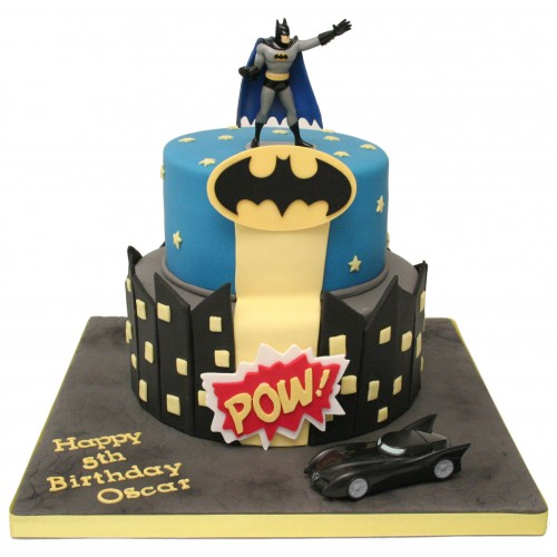 Batman 2 Tier Birthday Cake