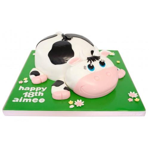 Fabulous Cow Birthday Cake Birthday Cards Printable Riciscafe Filternl
