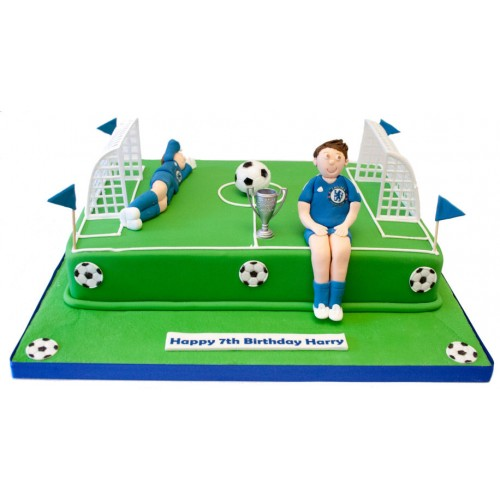 Pleasing Football Pitch Birthday Cake 3 Personalised Birthday Cards Paralily Jamesorg