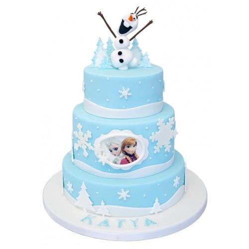 Frozen 3 Tier Birthday Cake