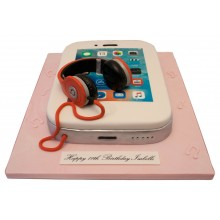 Phone Pink Headphones Birthday Cake