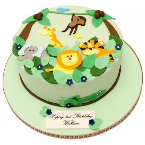 Jungle 2d Birthday Cake