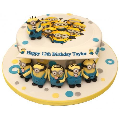 Minions Banner Birthday Cake