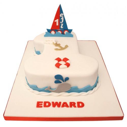 Outstanding Nautical Number One Birthday Cake Personalised Birthday Cards Veneteletsinfo
