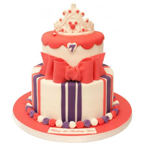 Awesome Red White Purple 2 Tier Crown Birthday Cake Funny Birthday Cards Online Alyptdamsfinfo