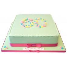 60th Large Square Birthday Cake