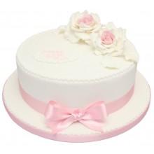 60th Pink Rose Birthday Cake