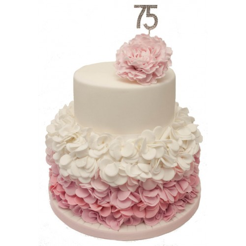 75th Ruffle Birthday Cake