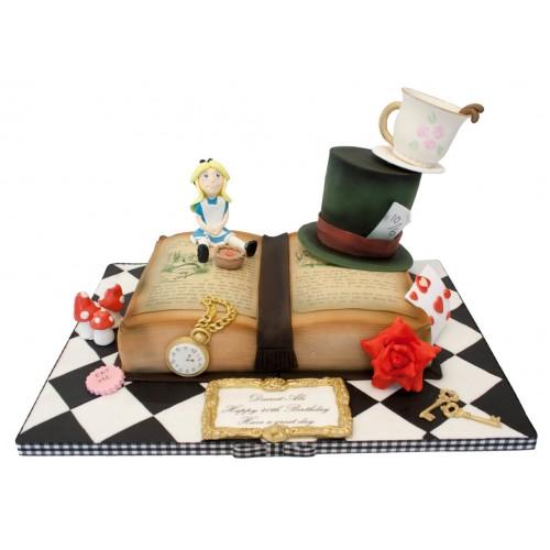 Stupendous Alice Wonderland Book Birthday Cake Funny Birthday Cards Online Alyptdamsfinfo