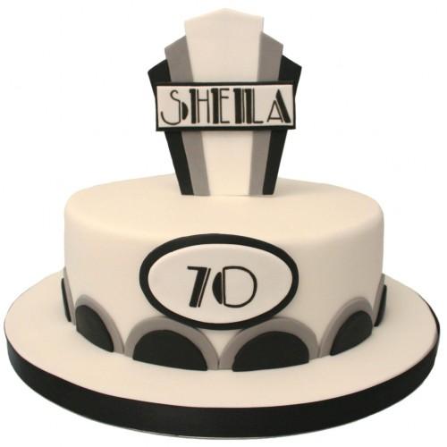 Art Deco Sheet Cake : Art Deco Birthday Cake