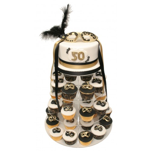 Black And Gold Masquerade Birthday Cake