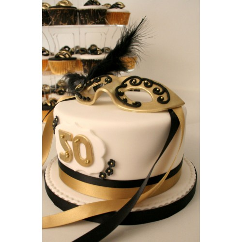 Awe Inspiring Black And Gold Masquerade Birthday Cake Funny Birthday Cards Online Alyptdamsfinfo