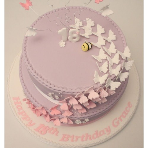Strange Butterfly 18Th Birthday Cake Funny Birthday Cards Online Overcheapnameinfo