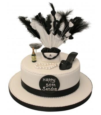 Fancy Black And White Birthday Cake