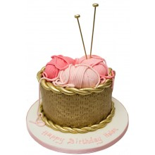 Knitting Gold Birthday Cake