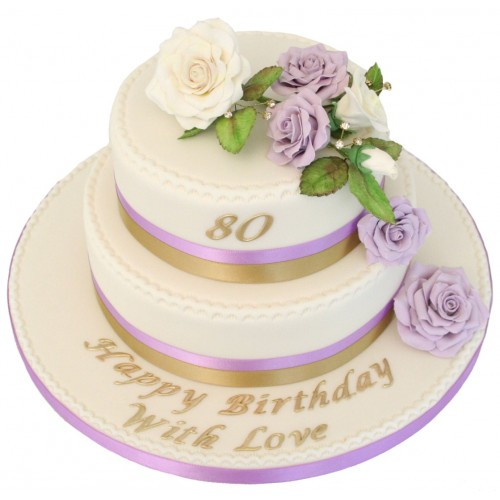 Lilac Rose 80th Birthday Cake1 500x500