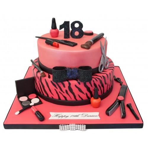 Makeup Pink Birthday Cake