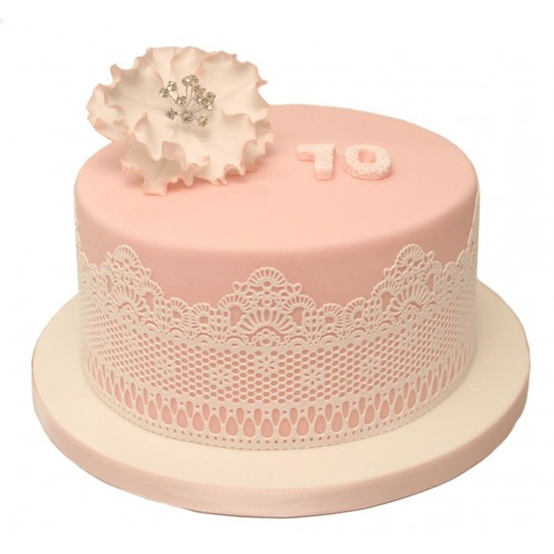 Pink Lace 70th Birthday Cake