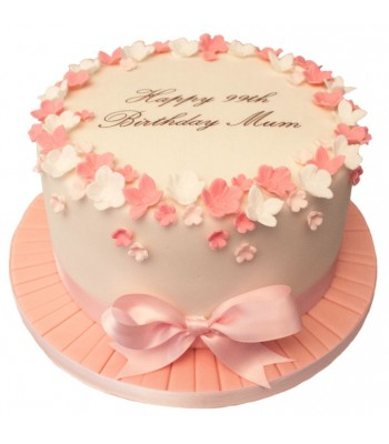 Pink White Petals Bow Birthday Cake