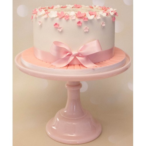 Remarkable Pink White Petals Bow Birthday Cake Personalised Birthday Cards Veneteletsinfo