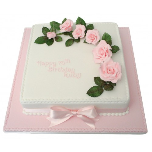 Roses 70th Birthday Cake