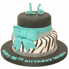 Zebra Black & Blue 16th Birthday Cake