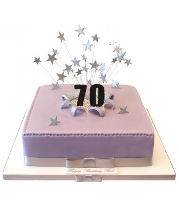 70th Large Square Birthday Cake