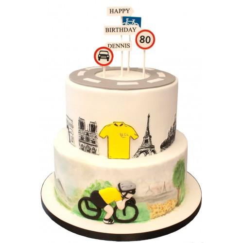 Excellent Cyclist 2 Tier Birthday Cake Personalised Birthday Cards Paralily Jamesorg