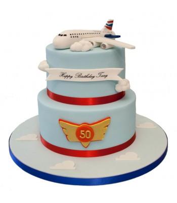 Jumbo Jet 2 Tier Birthday Cake