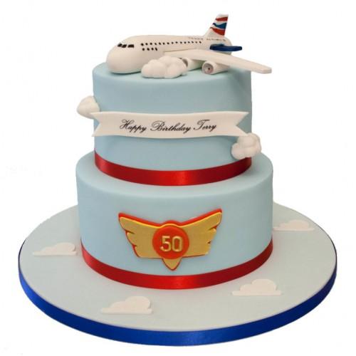 Jumbo Jet 2tier Birthday Cake1 500x500