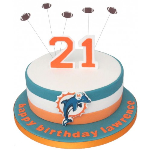 Awe Inspiring Miami Dolphins Birthday Cake Funny Birthday Cards Online Hendilapandamsfinfo