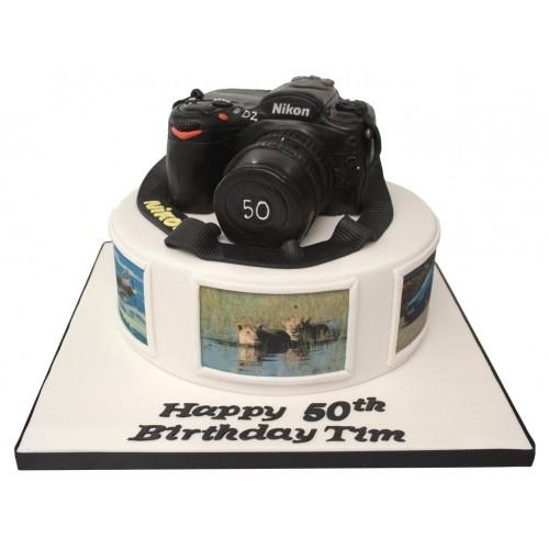 Admirable Nikon Camera 2 Tier Birthday Cake Personalised Birthday Cards Vishlily Jamesorg