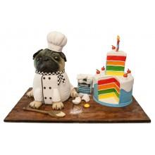 Pug Chef Birthday Cake