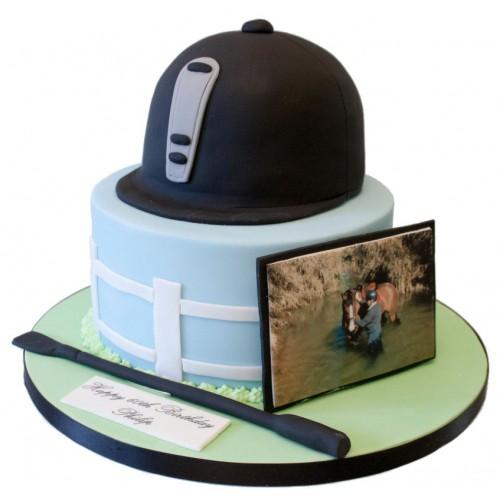 Peachy Riding Hat Birthday Cake Personalised Birthday Cards Sponlily Jamesorg