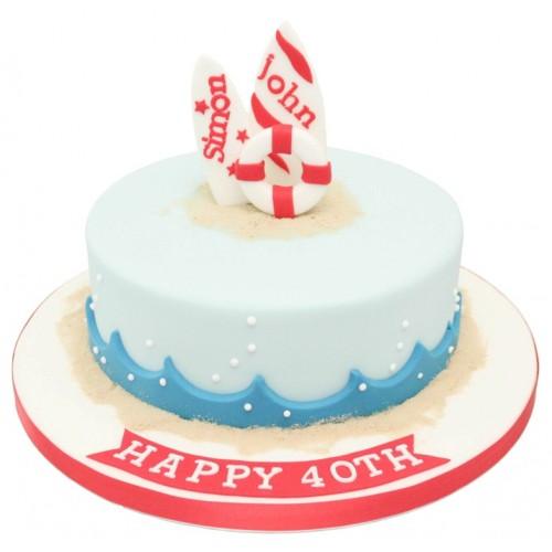 Astonishing Surfboard Birthday Cake Personalised Birthday Cards Petedlily Jamesorg