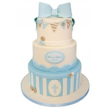 Blue Bow 3tier Christening Cake