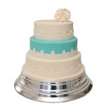 Blue & White Rose 3 Tier Wedding Cake