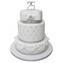 3 Tier Silver Wedding Anniversary Cake