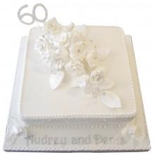 Anniversary 60th White Rose Cake