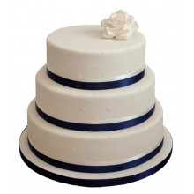 Blue and White Ribbon 3 Tier Wedding Cake