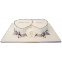 Double Heart Silver Anniversary Cake