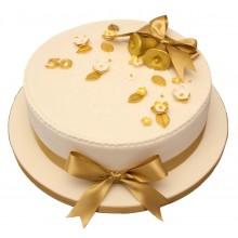 Golden Bells Anniversary Cake
