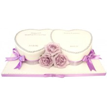 Lilac Rose Hearts Anniversary Cake