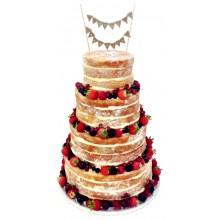 Naked Wedding Cake 4tier Fruits Bunting