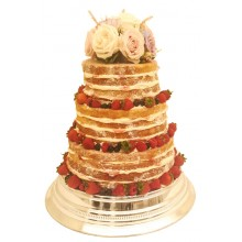 Naked Wedding Cake Fruits Flowers