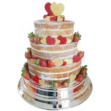 Naked Hearts Wedding Cake