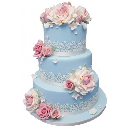 three tier wedding cake with red roses pink lace 3 tier wedding cake 20955